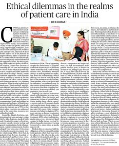 Ethical dilemmas in the realms of patient care in India