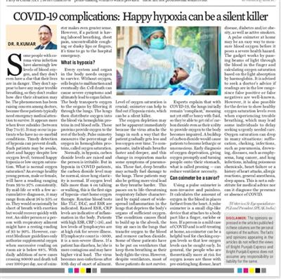 COVID-19 complications: Happy hypoxia can be a silent killer
